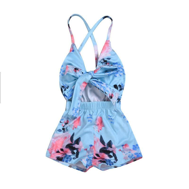 0-3Y Säuglingsbaby-Blumenspielanzug-Baumwoll Blau Overall Outfits sunsuit Baby-Kleidung