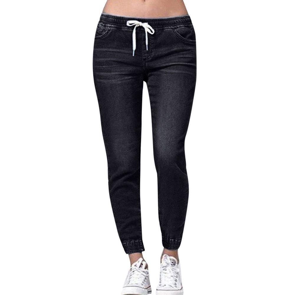 Women Autumn Elastic Plus Loose Denim Casual Drawstring Plus Cropped Jeans Jeans de mujer *40