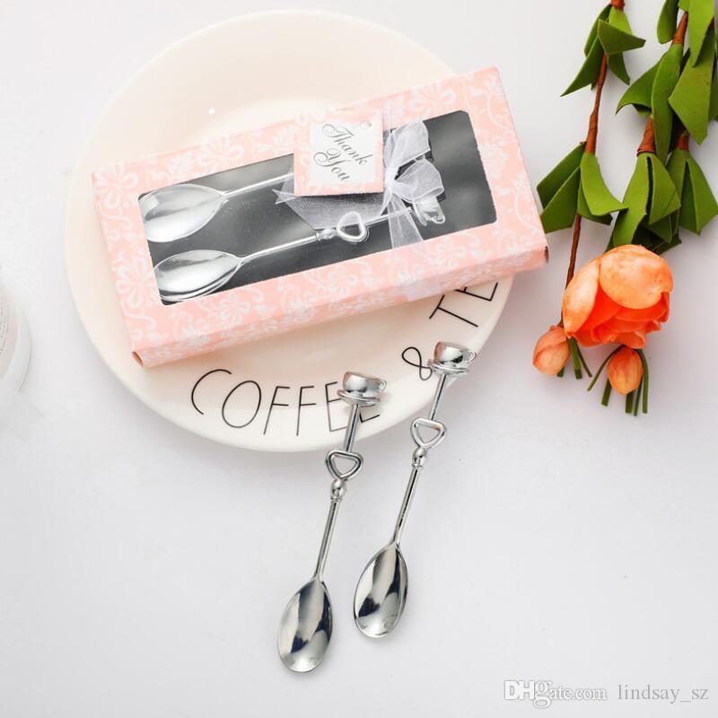 Lega di alluminio cucchiaio di caffè Set creativo Una coppia cucchiaio di caffè con la scatola per ospiti di nozze partito souvenir matrimonio romantico Favore LX8797