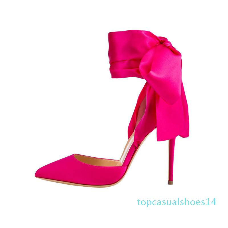 New 8.5cm 10cm 12cm pointed toe banquet pumps satin fashion bowtie red bottom high heels wedding dress shoes black fuchsia 14t