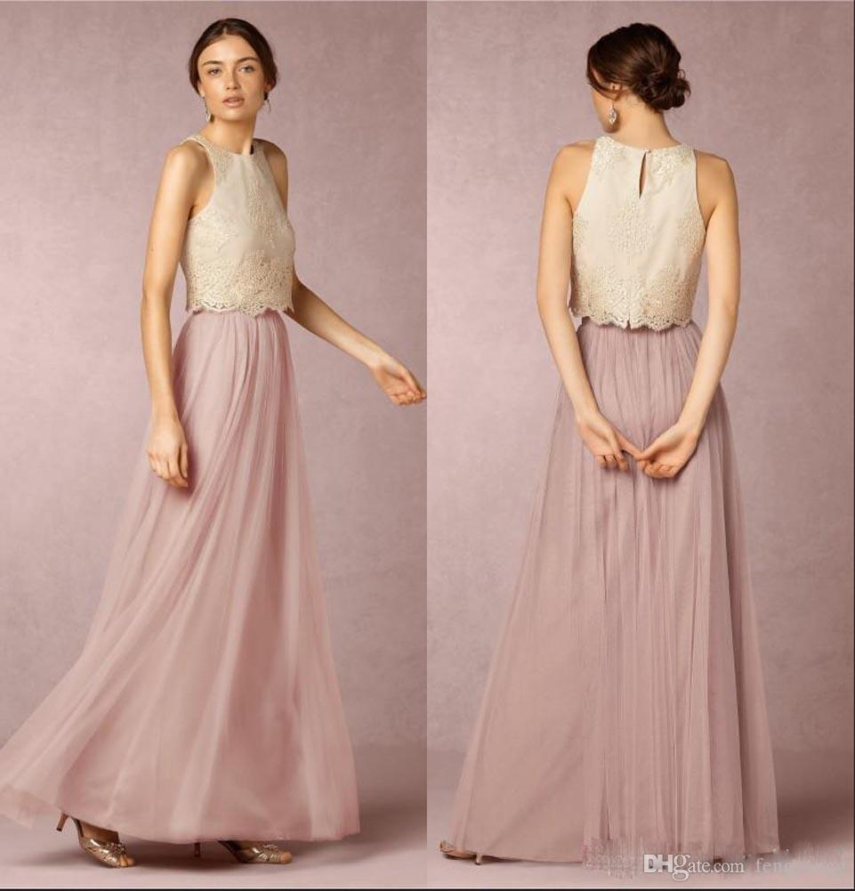 great deals on fashion boy order online Sleeveless Two Pieces Bridesmaid Dresses Lace Top Long Floor Length Pink  Tulle Skirt Elegant Wedding Guest Wear Dress Prom Party Dress Maternity ...