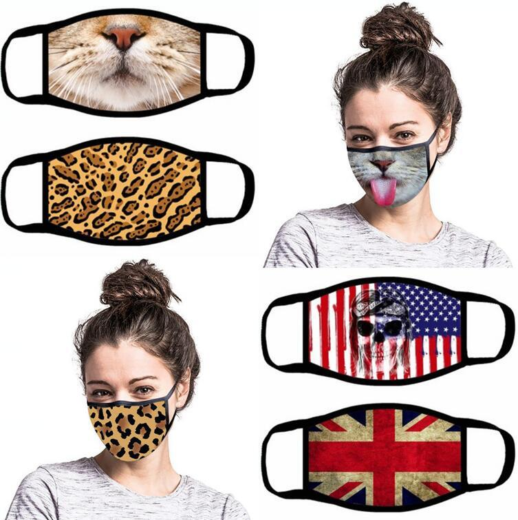 Funny Face Mask 13 Styles Cartoon Printed Reusable Anti Dust Washable Outdoor Mouth Cover Masks OOA7945