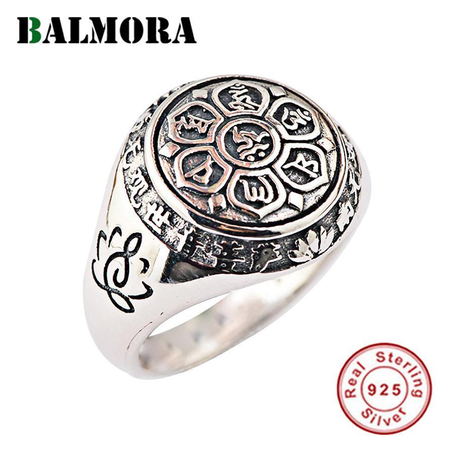 Balmora reale 925 Buddismo Sterling Silver Retro Spinner Stacking anelli per le donne gli uomini Coppia gioielli sei Words' Mantra Moda
