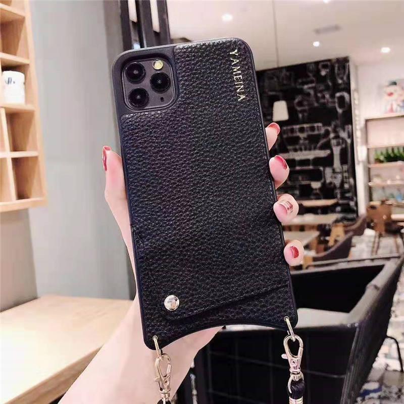 Neuer Luxus-Fall für IPhone 11 XS MAX-Leder-Mappen-Karten-Kasten für IPhone 11 Pro Max XS XR X 8 7 6S 6 Plus Deckel mit Gurt