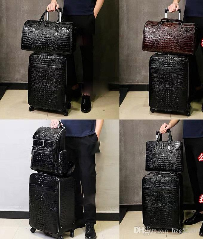 3suitcase carry 2Travel Leather Rolling Luggage Leather Travel Bags Hand Luggage2020Shipping OFF black brwon 1 1s mens basketball shoes thre