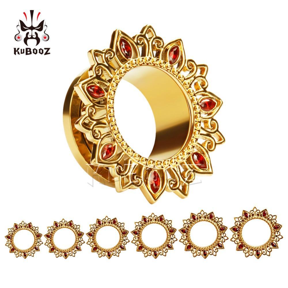 الجملة ثقب المسمار الخلفي سدادات الأذن ثقب هيئة المجوهرات الذهب أنفاق الأذن الفولاذ المقاوم للصدأ الكريستال مقاييس الجملة