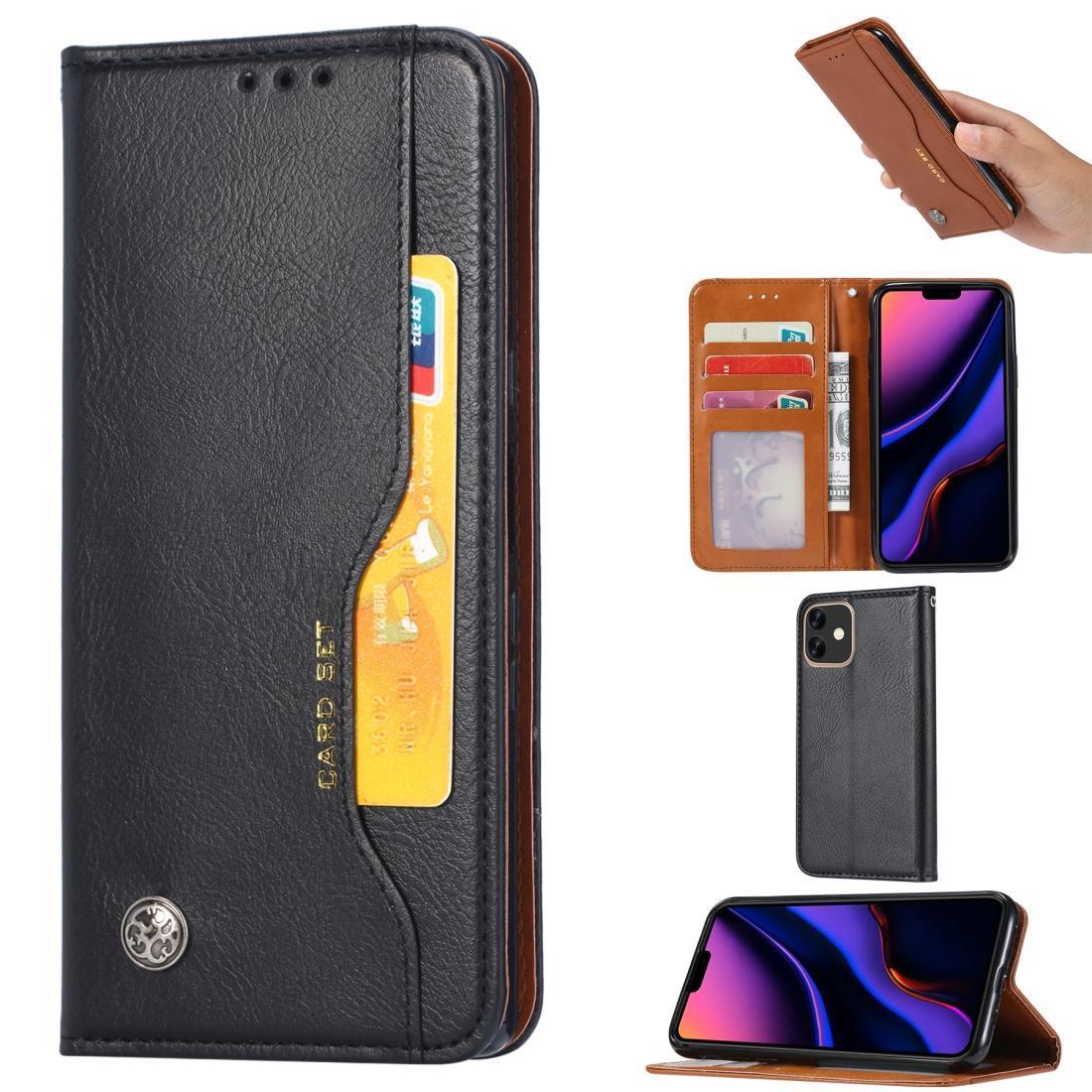 Amasse a textura da pele Horizontal Leather flip para o iPhone 11, com Photo Frame Titular Slots Carteira
