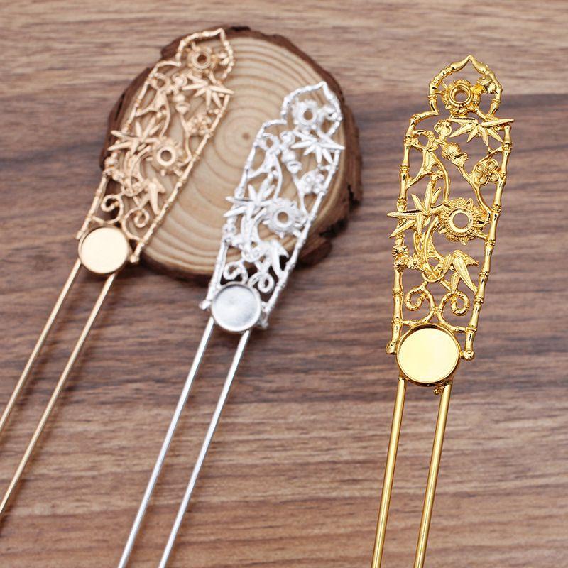 2PCS Metal Alaşım Bakır Gelin Şapkalar Saç Kadınlar Hairwear Dekorasyon Aksesuarlar için Retro Firkete Ayarı Sticks