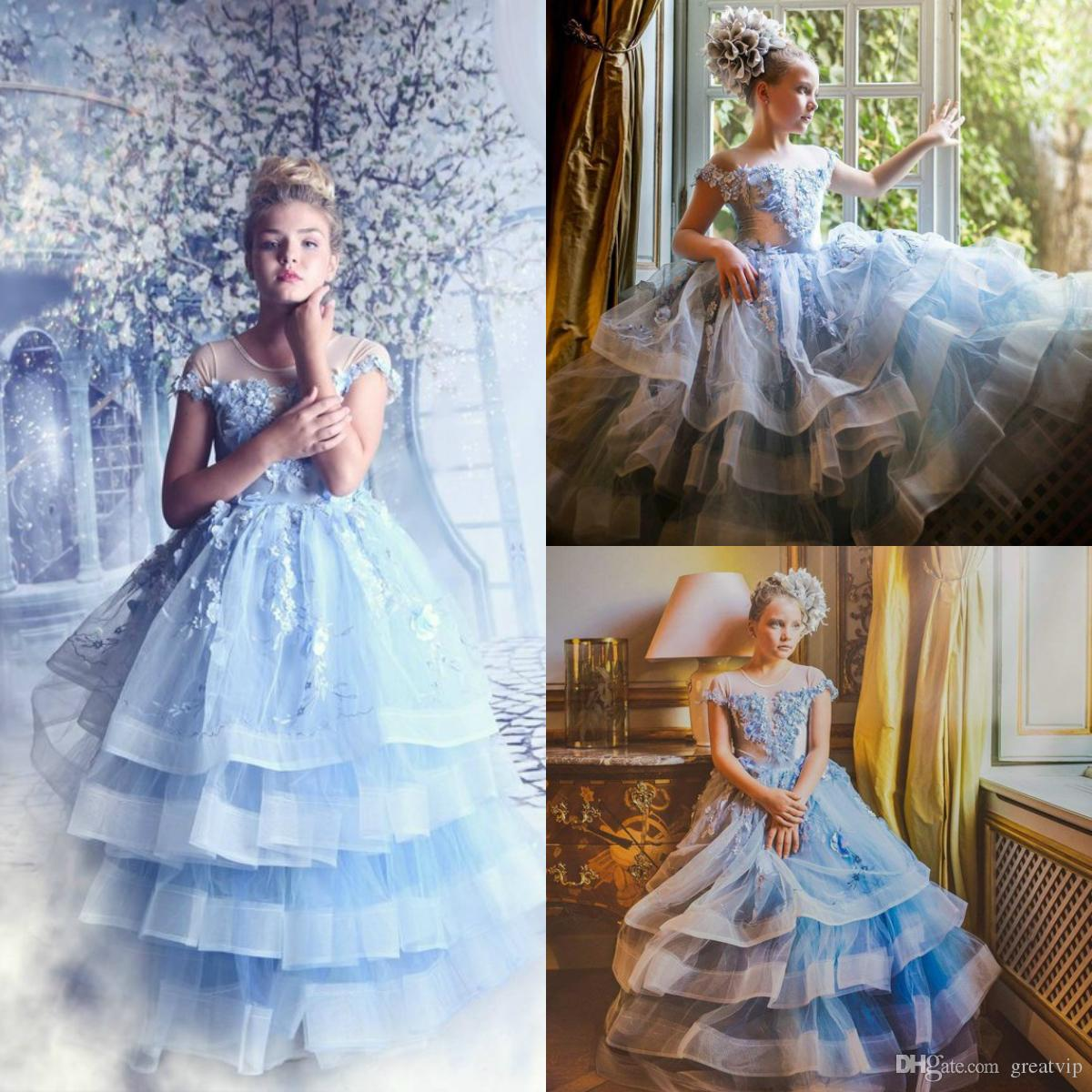 Blue Pageant Flowers Girls Dresses 3D Floral Applique Beads Layered Tulle Teens Princess Birthday Party Dress Princess Weddnig Prom Gowns