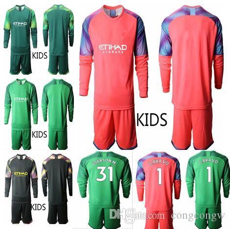 2019 2020 Futbol Kaleci Çocuklar # 1 C.Bravo Ederson M. # 31 Kaleci Üniforma Şehir Futbol Uzun Kollu Gençlik Futbol Formaları Set