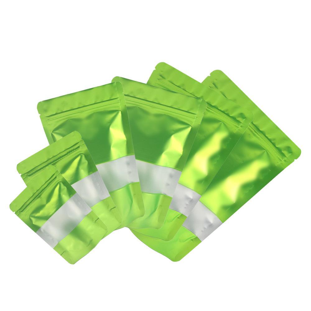 Tamaño clasificado Mate Verde Con Claro rectángulo ventana frontal plateado en el interior posterior del verde de la hoja de Mylar Stand Up Zip Lock empaqueta con la muesca de arranque