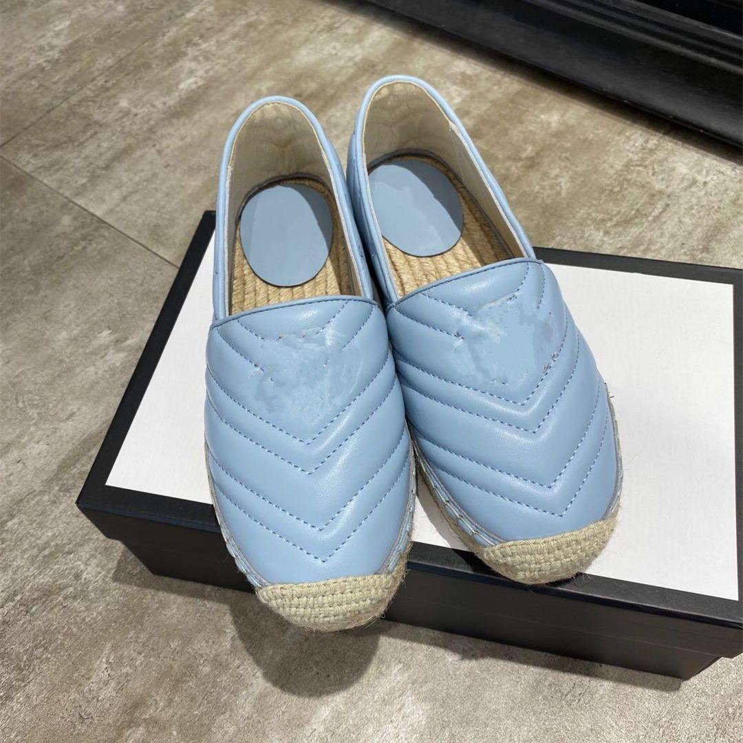 Branded cowskin leather espadrilles slides flat heel designer sandals pink blue black luxury fashion women shoes size 35 to 41 tradingbear