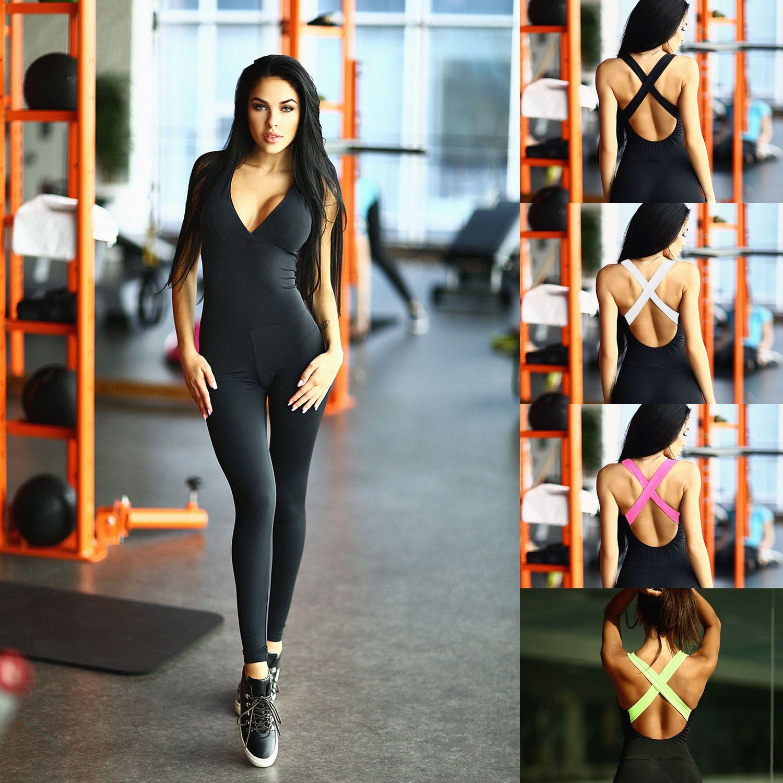 Эластичность черный фитнес комбинезон Комбинезон 2019 спортивные тощий боди мода повязки тонкий Комбинезон Женщин плюс размер MTL ZC1976