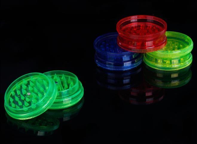 3-layer plastik keskin dişleri değirmeni akrilik şeffaf şeker renk 60mm sigara kırıcı