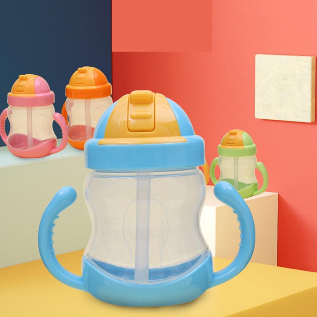 Hot Sale 1PC 280ml bebê garrafa Crianças Copa do PP Crianças Treinamento copos bonito do bebê Água potável Straw Handle Mamadeira