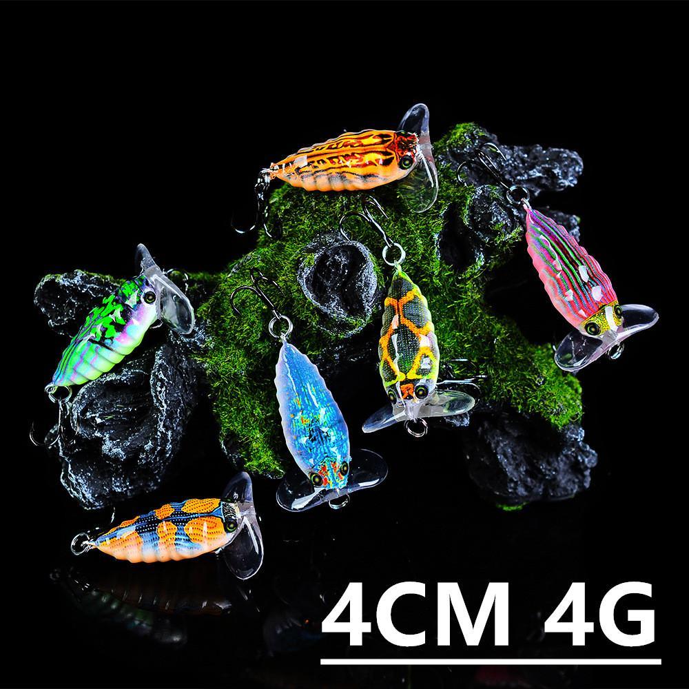Karışık 6 Renk 4cm 4g Ağustos böceği Balıkçılık Kancalar Balık oltaları 8 # Kanca Plastik Sabit yemler Yemler Pesca olta takımları Aksesuarlar z-7