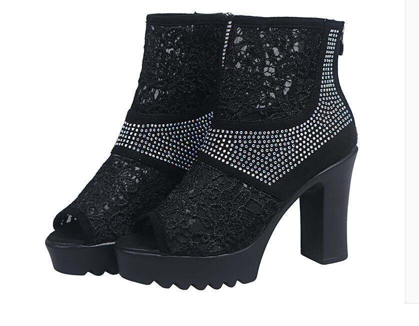 Kalın içi boş dışarı seksi su geçirmez sahne balık ağzı gazlı bez serin botları yüksek topuk sandalet kadın 2020 ilkbahar yaz yeni çok amaçlı