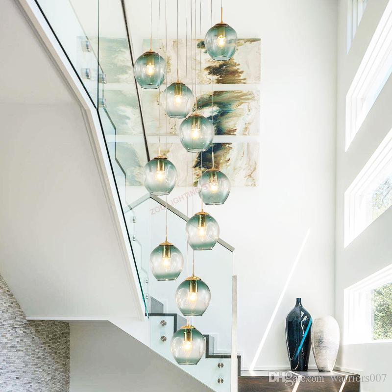 Moderne Nordic Wohnzimmer LED-Glastreppe chandelier.Master Schlafzimmer light.The Kronleuchter in der room.Ceiling Lampe