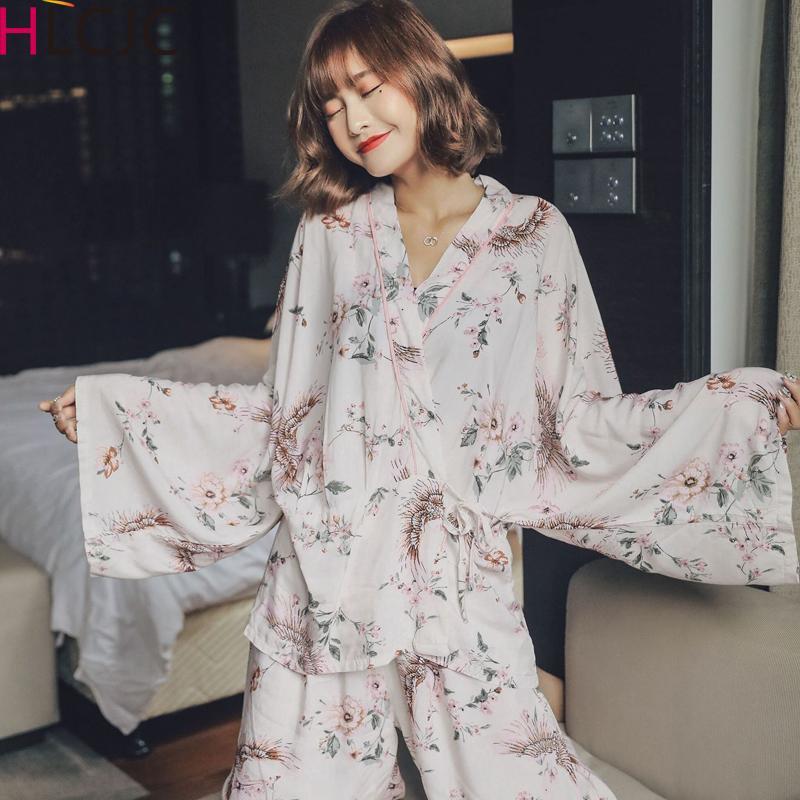 2020 Новая весна лето женщин хлопка пижамы набор цветов Кимоно рубашка + кальсоны пижамы пижамы Thin Пижама Главная Одежда Pijama