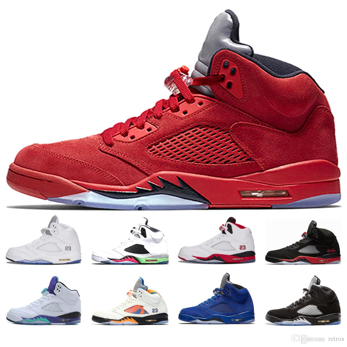 5 5s Men Basketball Shoes Red Blue