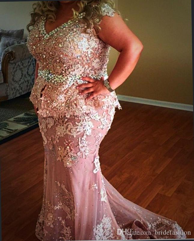 Plus Size Prom Dresses Pink V Neck Pearls Appliques Sequins Mermaid Evening Dresses Long Tulle Personalize Mother Wear Formal Dresses