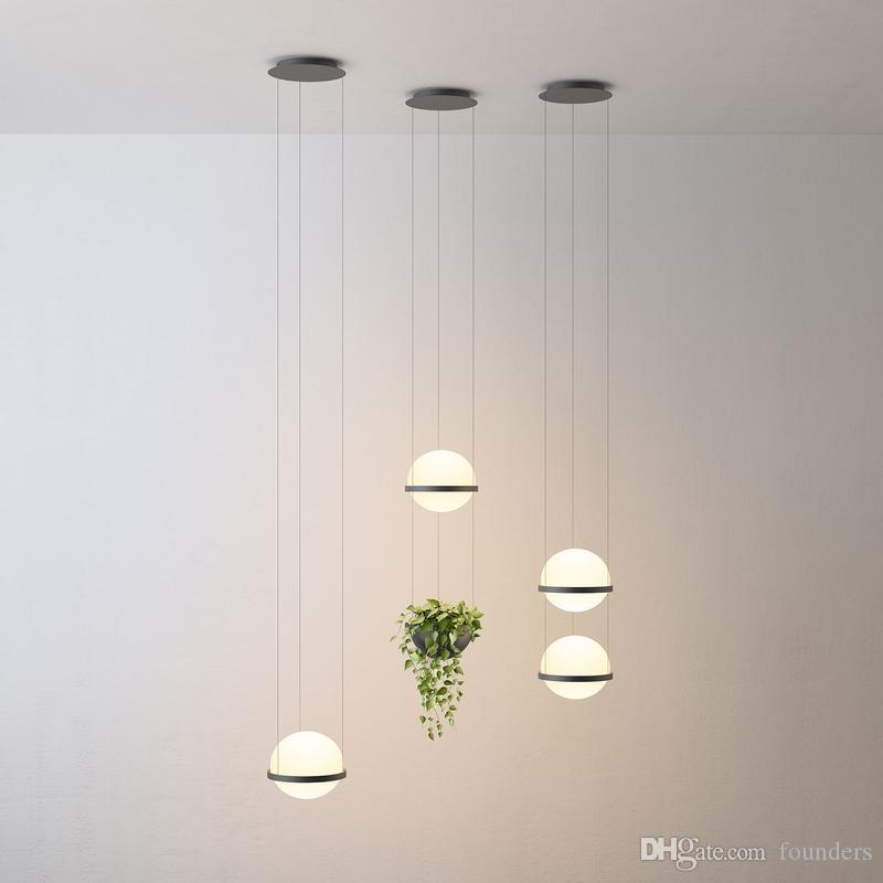 Moderne lait nordique en verre blanc pendentif boule de lumière avec des plantes en pot pour Salle à manger Hall Lobby Bar Suspension Lampe suspendue