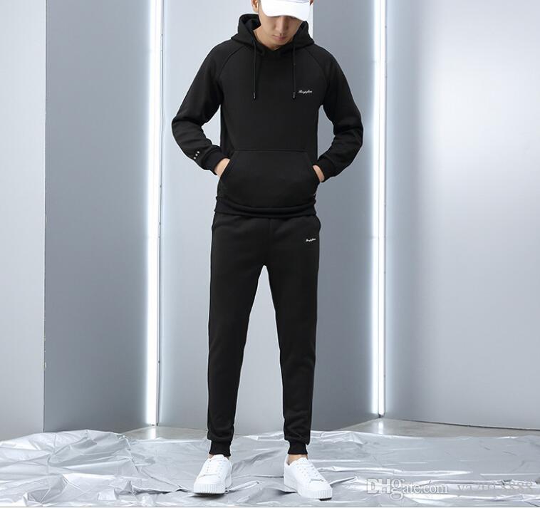 automne et d'hiver Casual nouveaux sportssuit deux des hommes de la tendance pièce usine de tendance sportswear à capuche homme Pull vente directe