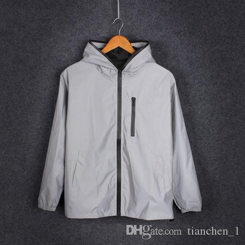 Nuovo 3m giacca full riflettente uomini / donne giacche a vento harajuku giacche con cappuccio hip-hop streetwear notte lucida cappotti giacca 3m