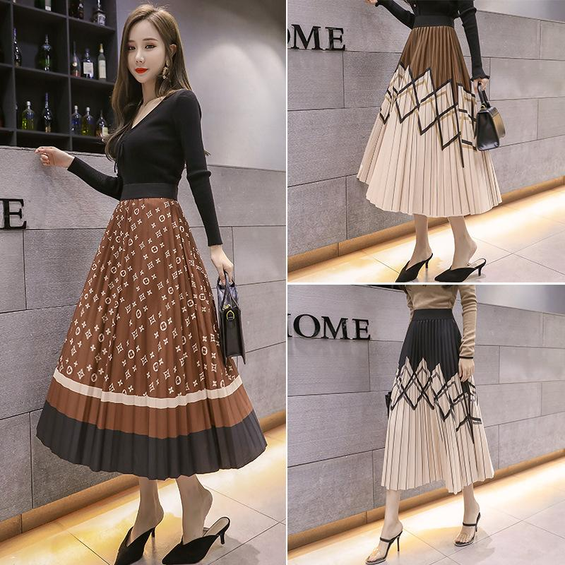 Summer new women's colorful print skirt big swing pleated skirt urban casual cake Cover the meat