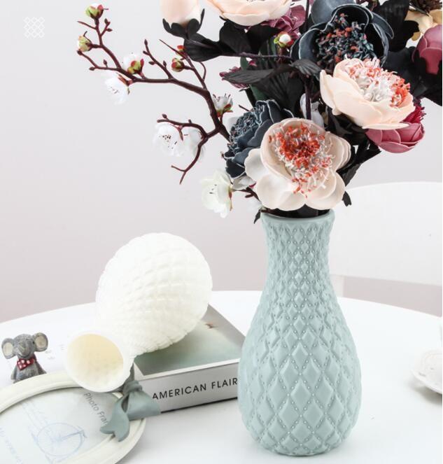 Plastic flower vases household decorative flower vase for decor insert artificial flowers for sitting room office wedding ceremony