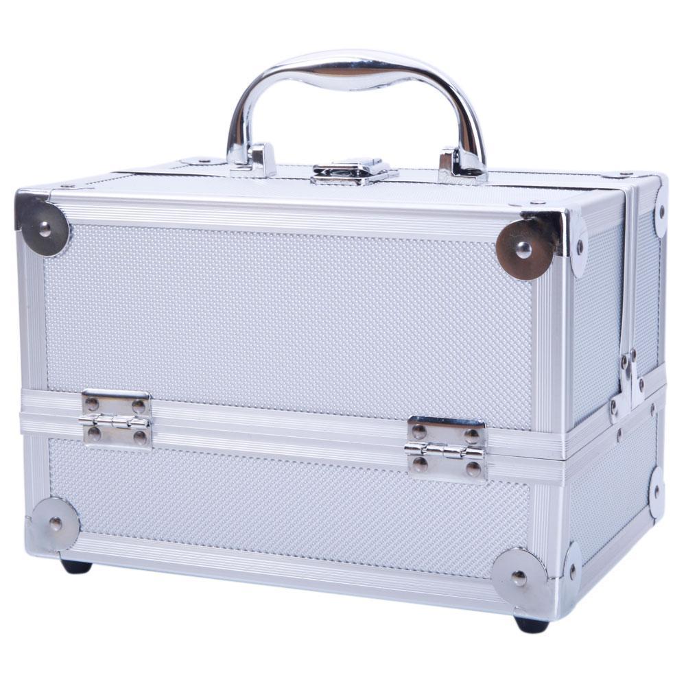 Alluminio Make up Caso Cosmetics scatola di trucco con serratura maniglia del treno Cosmetic Jewelry Organizer vassoio con lo specchio di trasporto