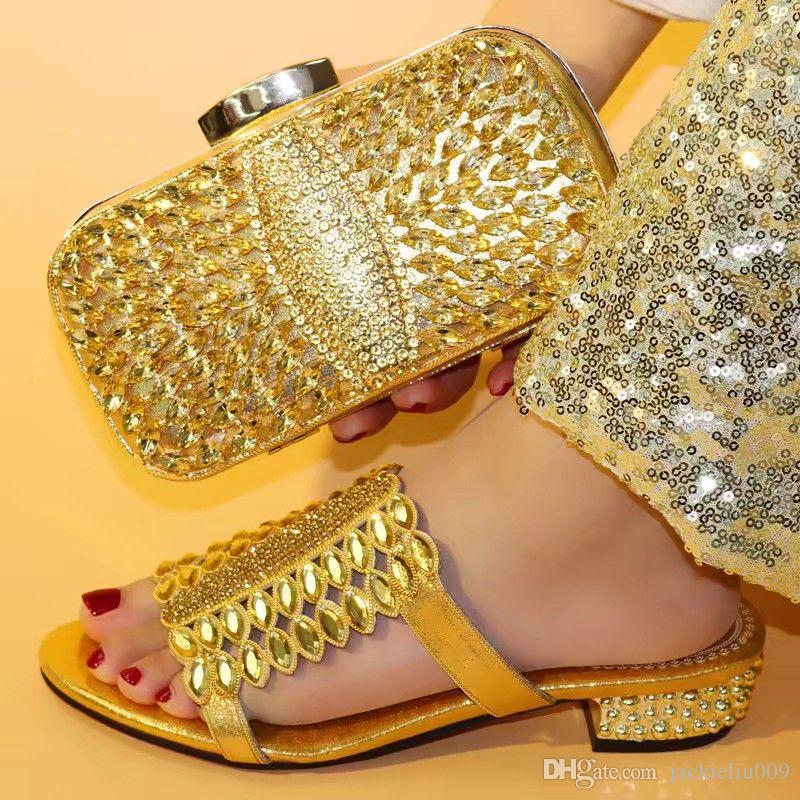 Hermosas mujeres de oro sandalias con diamantes de imitación de cristal y grandes zapatos africanos coinciden conjunto bolso para V0730 vestido de fiesta, el talón de los 3.8cm