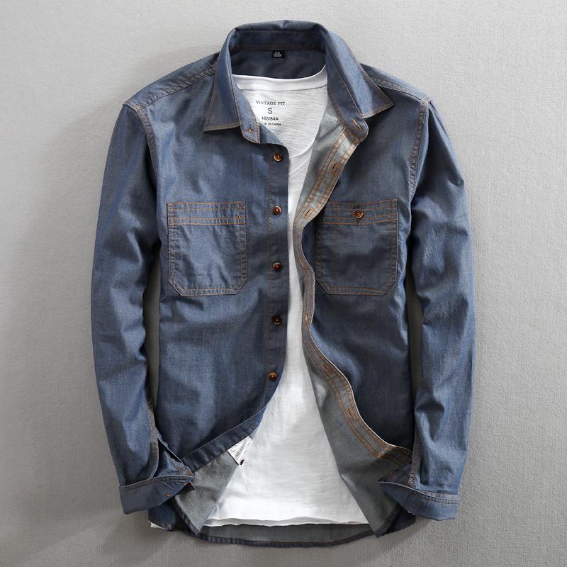 hommes de jeans chemise pur coton régulier long Fit manches Fashion chemises habillées Denim Casual Double Pocket Y200408