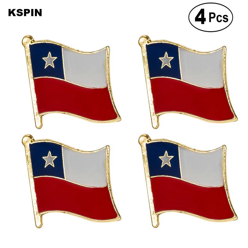 Drapeau du Chili Pin épinglette Badge Broche icônes 4pc