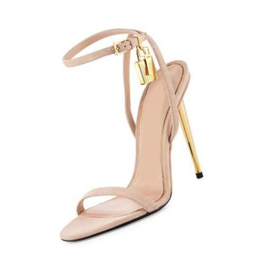 Sale-Runway quente de Verão Sapatos Mulher sexy Aberto à frente Cadeado Mentallic Stiletto Salto Alto Ankle Strap Sandals Mulheres Plus Size