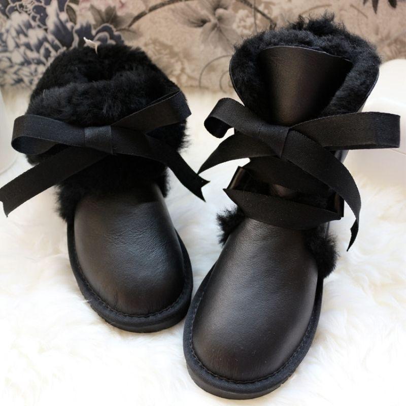 GZaco Stivali donna lana genuina pelle di pecora Snow Boots Black Winter pizzo stivali impermeabili caldi scarpe femminili piatte MX200320