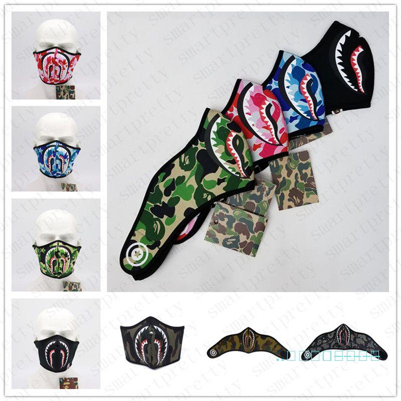 Maschere Ape Shark marca notte luminosa del fronte Sciarpa di riciclaggio del motociclo Designer Outdoor Sports Sci Facemask Tenere maschere caldi copertina D42801