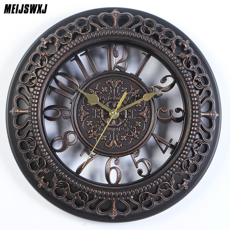 12 pulgadas de estilo nórdico decoración para el hogar reloj de pared Vintage moderno número redondo reloj de pared Mordern Home Design para