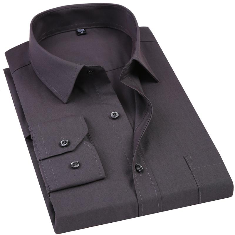 2020 Yeni Erkek Elbise Gömlek Katı Renk Artı boyutu 8XL Siyah Beyaz Mavi Gri Chemise Homme Erkek İş Casual Uzun kollu gömlek