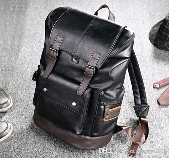 wholesale brand men's bags fashionable large capacity leather backpack retro color casual men backpack outdoor travel leather backpack