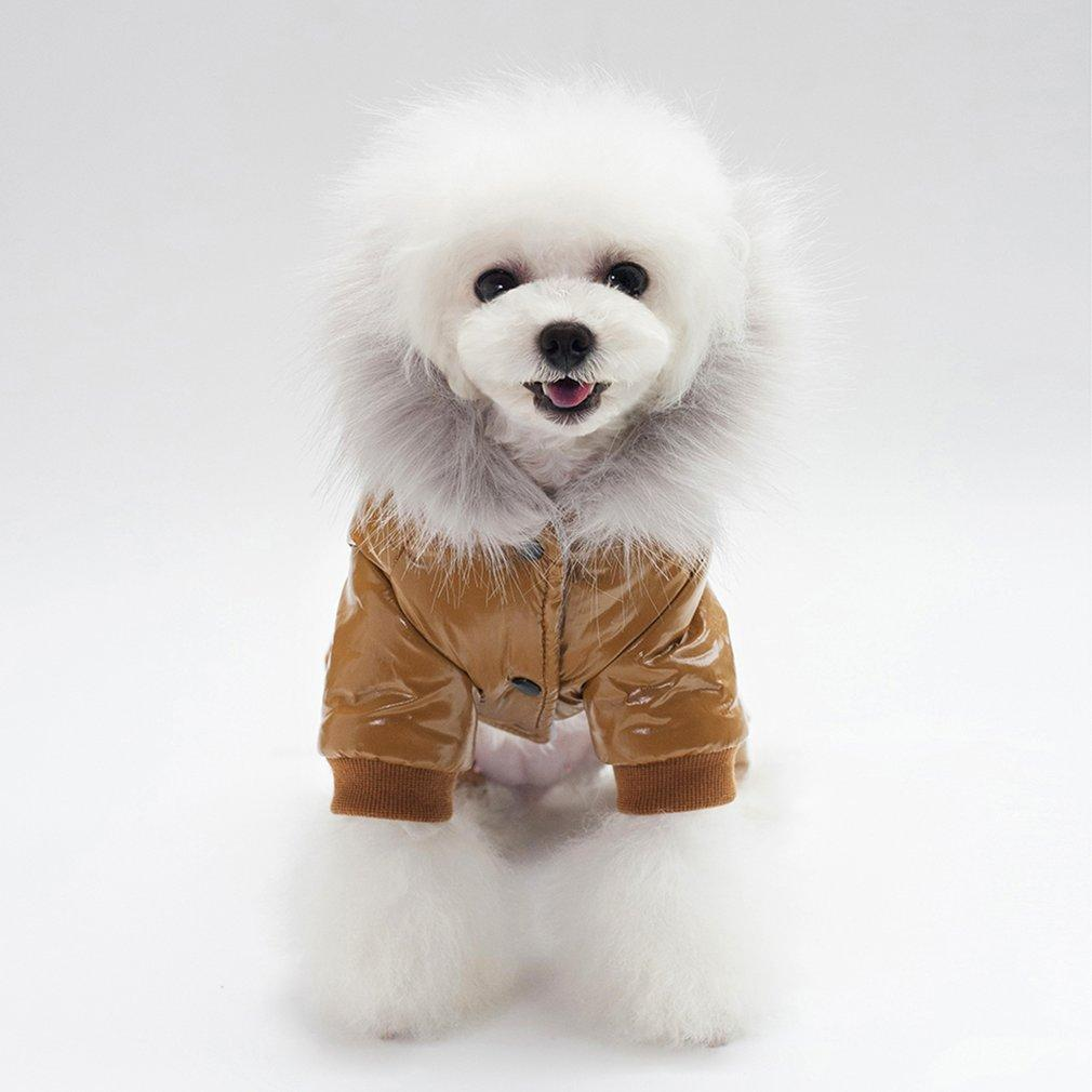 2018 New Pet Dogs Coat Dog Clothes PU Leather Cotton Padded Hooded Jacket Four Legs Comfortable Thick Warm Winter Coat