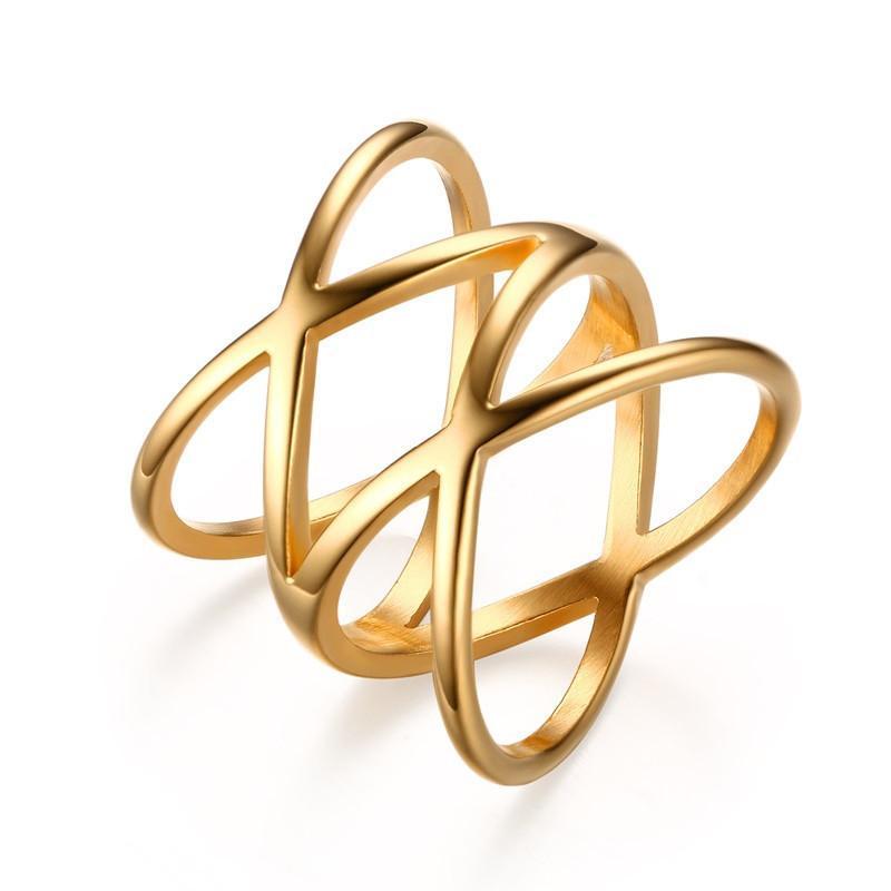 2020 مجوهرات الأزياء الجميلة خواتم أوروبا وأمريكا بوهيميا الفولاذ المقاوم للصدأ الصليب مزدوجة الزفاف للنساء