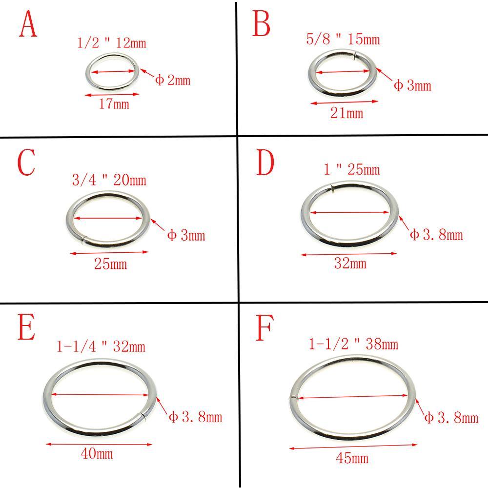 50PCS / الكثير الحلقات المعدنية غير الملحومة النيكل مطلي الياقات جولة حلقات الحزام الإبزيم حزمة ملحقاتها 12MM-38MM