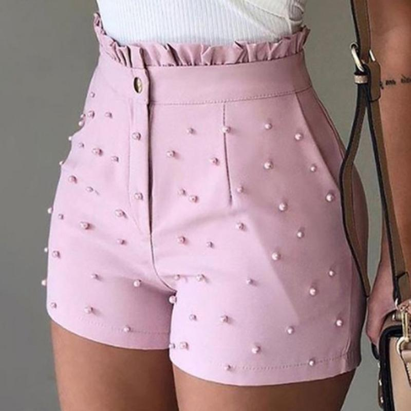 Women's Cute Soild Color Shorts High Waist Zipper Shorts Bead Decoration Office Lady Elegant Short Pants Summer MX200407