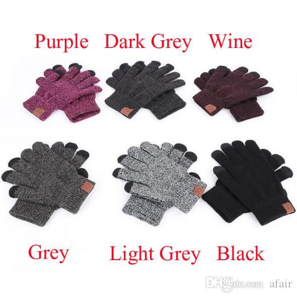 CC Knitted Gloves Man Woman Solid Winter Warm Portable glove outdoor sports Five Fingers Touch Screen Gloves For iphone XS MAX OPP bag