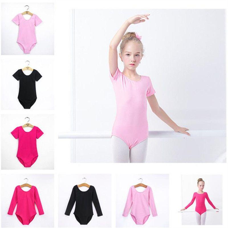 2019 Renk Katı Çocuklar Jimnastik Leotard Kısa veya uzun Kol Çocuk Dans Kostümleri Latince Bale Dans Bodysuit Çocuk Egzersiz Çamaşır