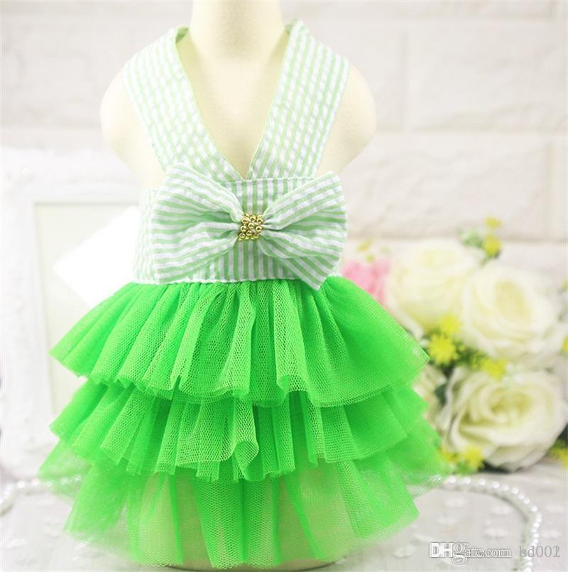 Stripe canotta Pet vestiti del cane Blue Bow garza Gonna Alla Petticoat Primavera E L'estate di colore rosa nuovo modello denim 8 5gcb1