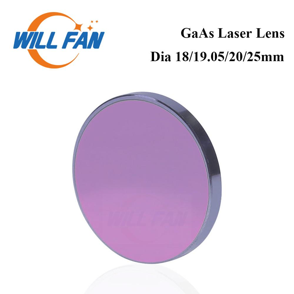 Will Fan GaAs lentille laser 20 mm 25 mm FL50.8mm 63.5mm 76.2mm Pour Co2 machine de gravure laser Cutter