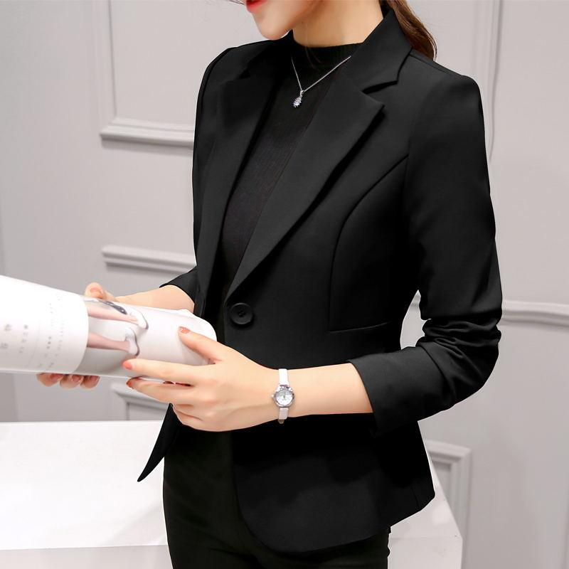 Brand Spring Autumn Slim Fit Women Formal Jackets Office Work Suit Open Front Notched Ladies Solid Black Coat Fashion Coats Tops S19802