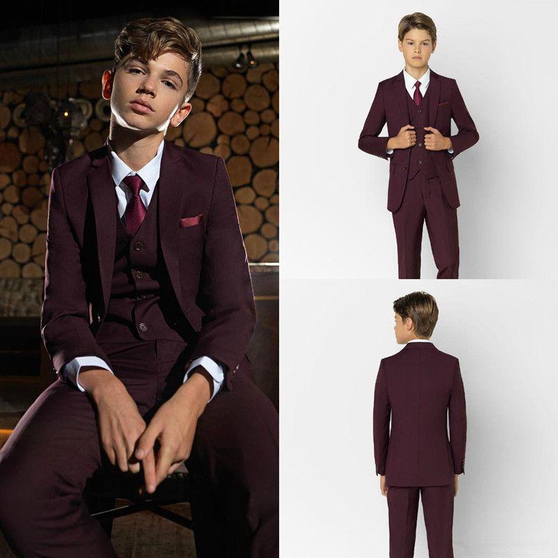 Burgundy 소년 공식 정장 저녁 식사 턱시도 작은 소년 Groomsmen 아이들이 결혼식 파티 댄스 파티에 대 한 아이들 공식적인 착용 (재킷 + 조끼 + 바지)